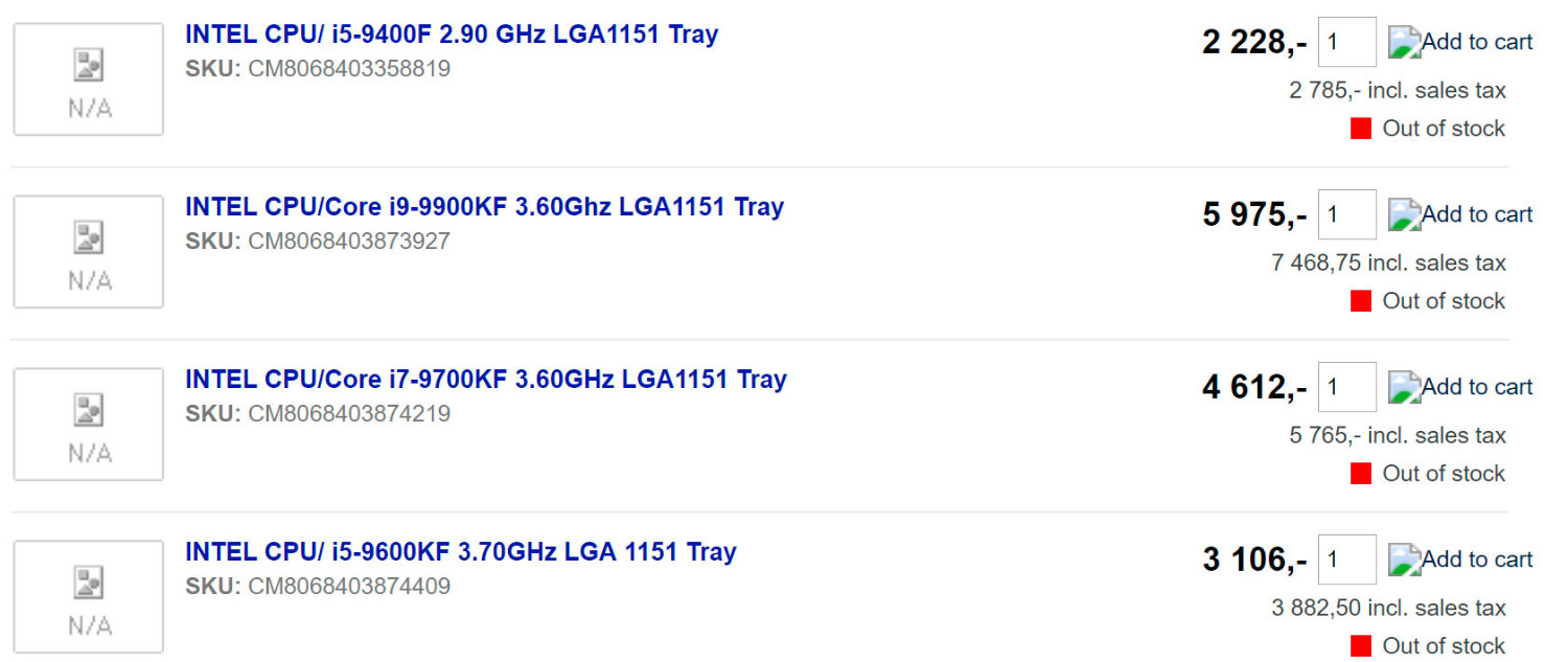 """Four 9th Gen Core """"KF"""" Processor Models Get Listed"""