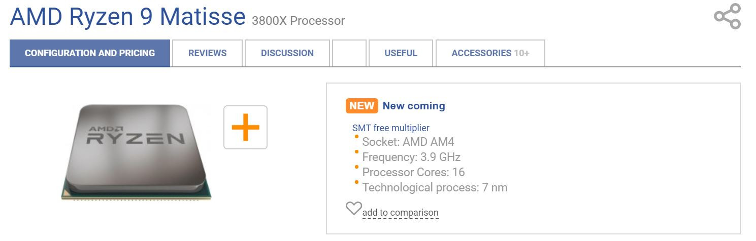 Alleged AMD Ryzen 3000 Series CPU Lineup Leaked by Russian E-Tailer