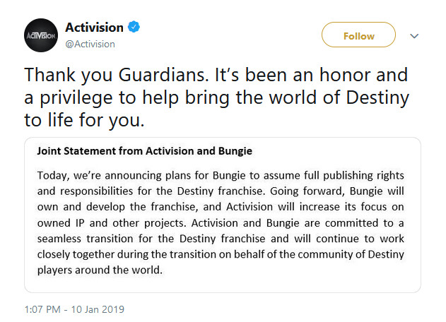 Bungie, Activision Split; IP Stays With the Developer, Destiny 2 Roadmap Unaffected