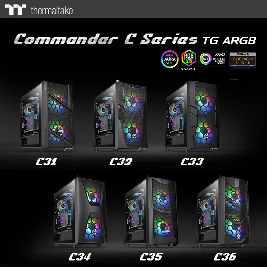 (PR) Thermaltake Commander C Cases come with 200 mm ARGB Fans and Tempered Glass