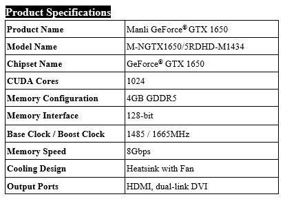 (PR) Manli Introduces its GeForce GTX 1650 Graphics Card Lineup