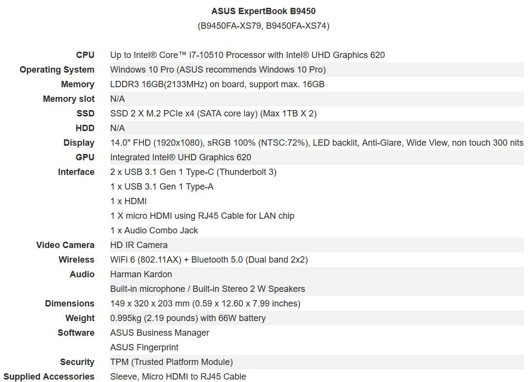(PR) ASUS Also Launches ExpertBook B9450 Laptop for Business Professionals