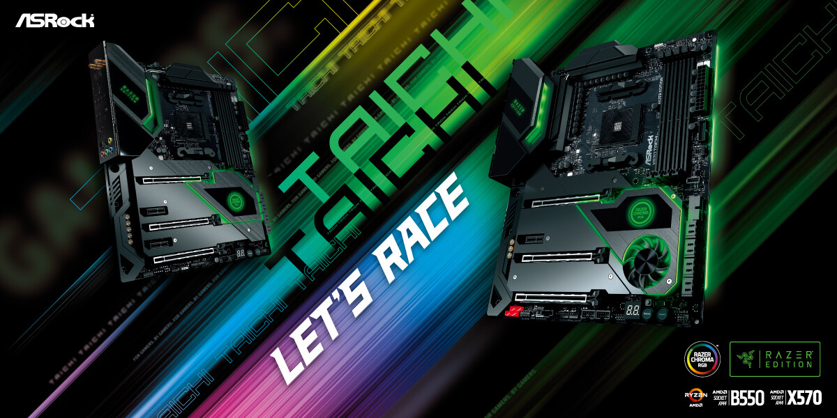 (PR) ASRock Launches X570 and B550 Taichi Razer Edition Motherboards