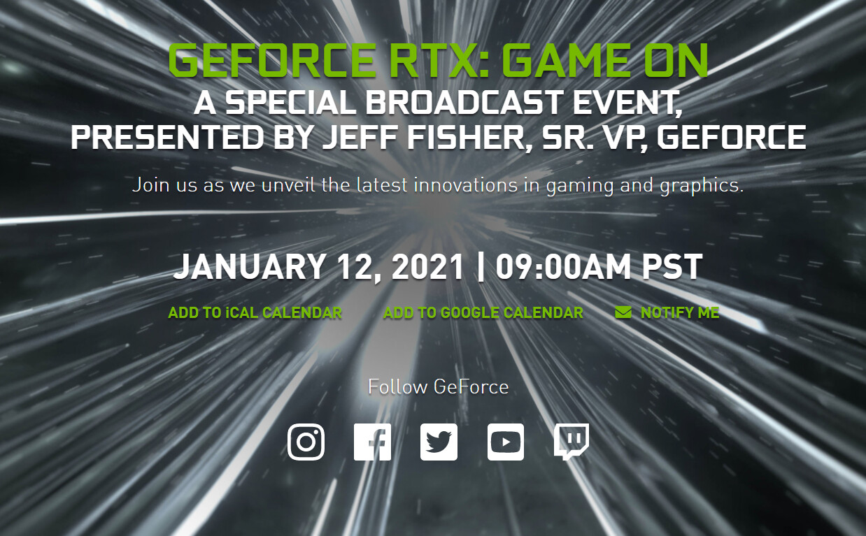 """NVIDIA to Host """"GeForce RTX: Game On"""" Broadcast Event on January 12th"""