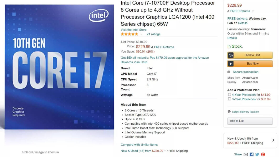 Intel Apparently Discounting 10th-Gen CPUs in Bid to Claw Market from AMD