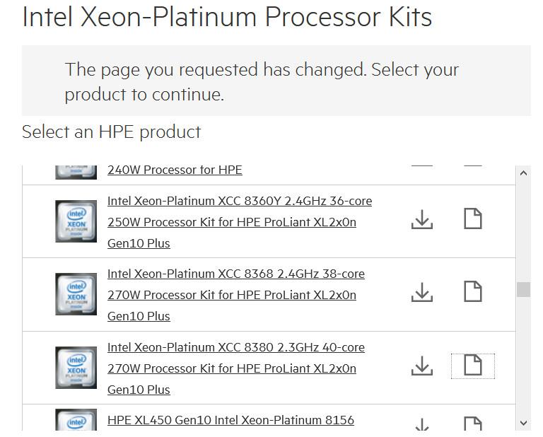 HPE Lists 40-Core Intel Ice Lake-SP Xeon Server Processor