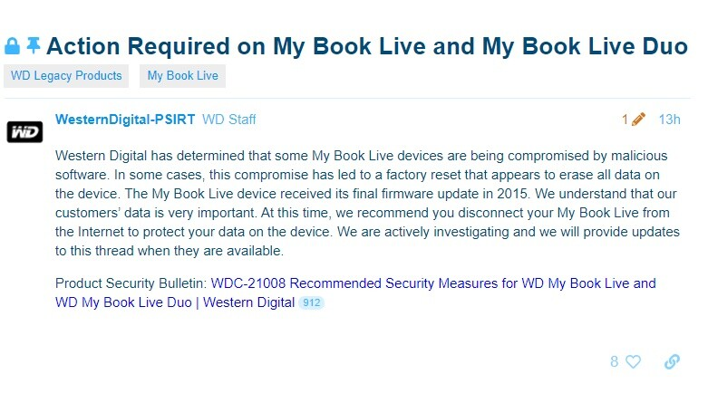 Western Digital: Disconnect WD My Book Live External HDDs From the Internet Immediately