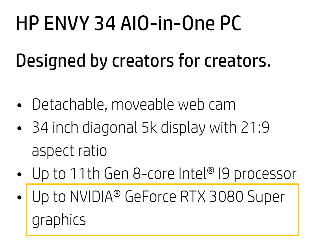 HP Lists NVIDIA RTX 3080 SUPER in Upcoming Envy 34 PC